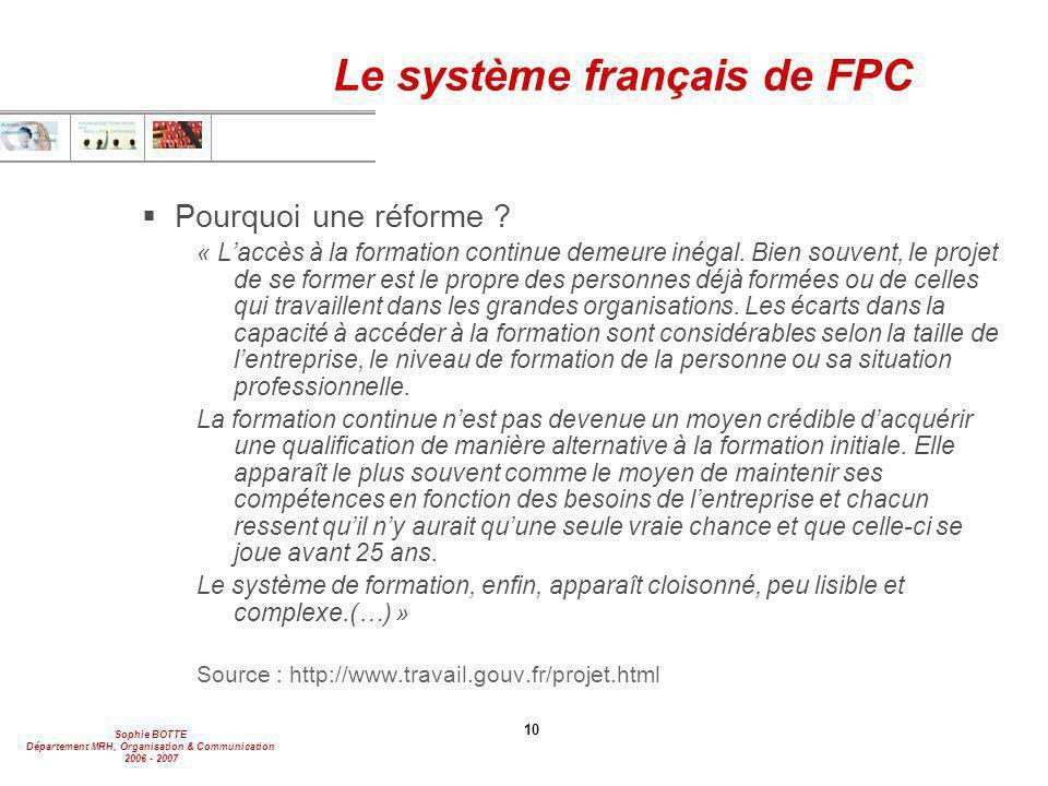 Le système français de FPC