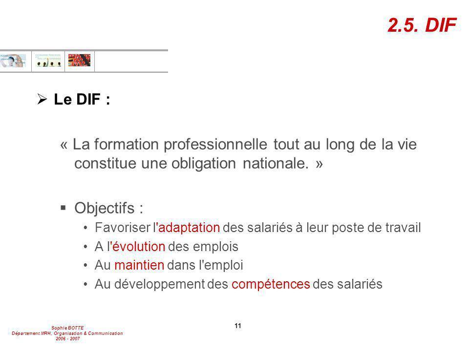 2.5. DIF Le DIF : « La formation professionnelle tout au long de la vie constitue une obligation nationale. »