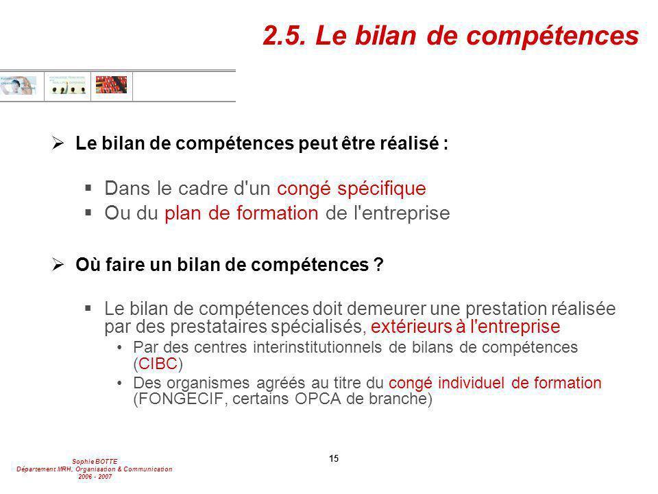2.5. Le bilan de compétences