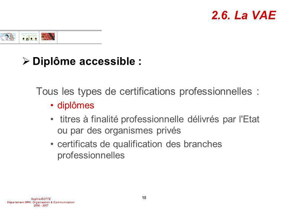 2.6. La VAE Diplôme accessible :