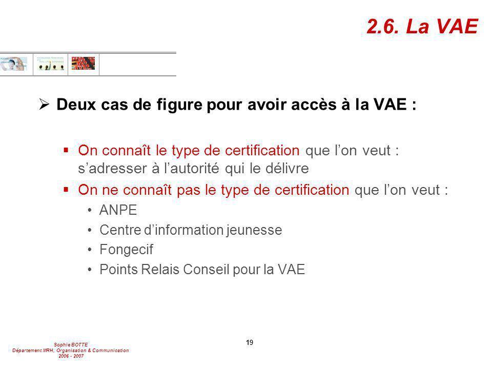 2.6. La VAE Deux cas de figure pour avoir accès à la VAE :