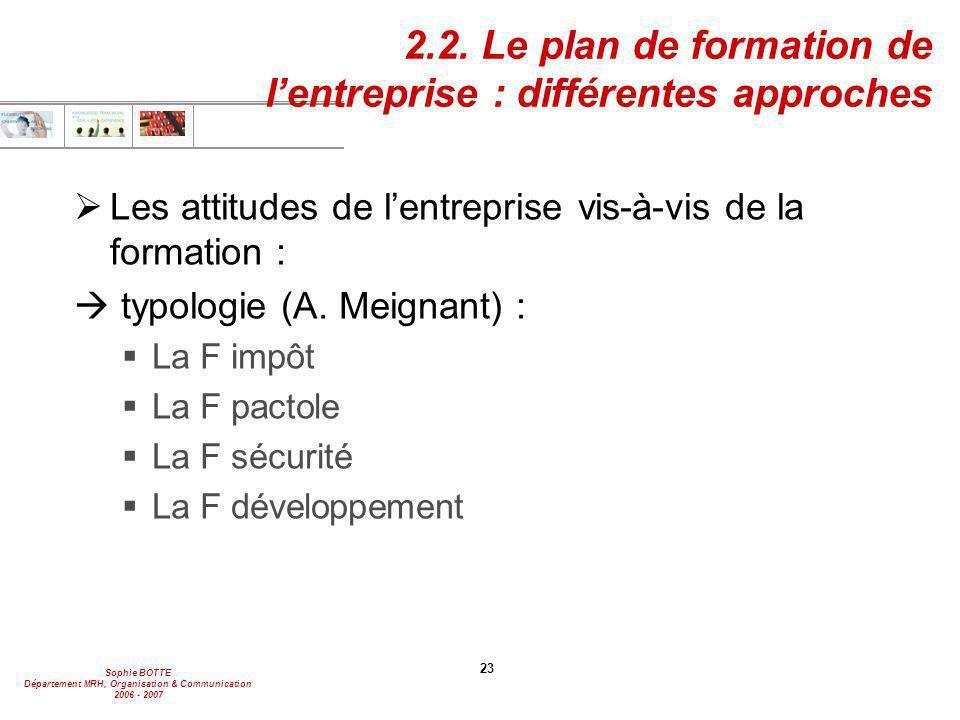 2.2. Le plan de formation de l'entreprise : différentes approches