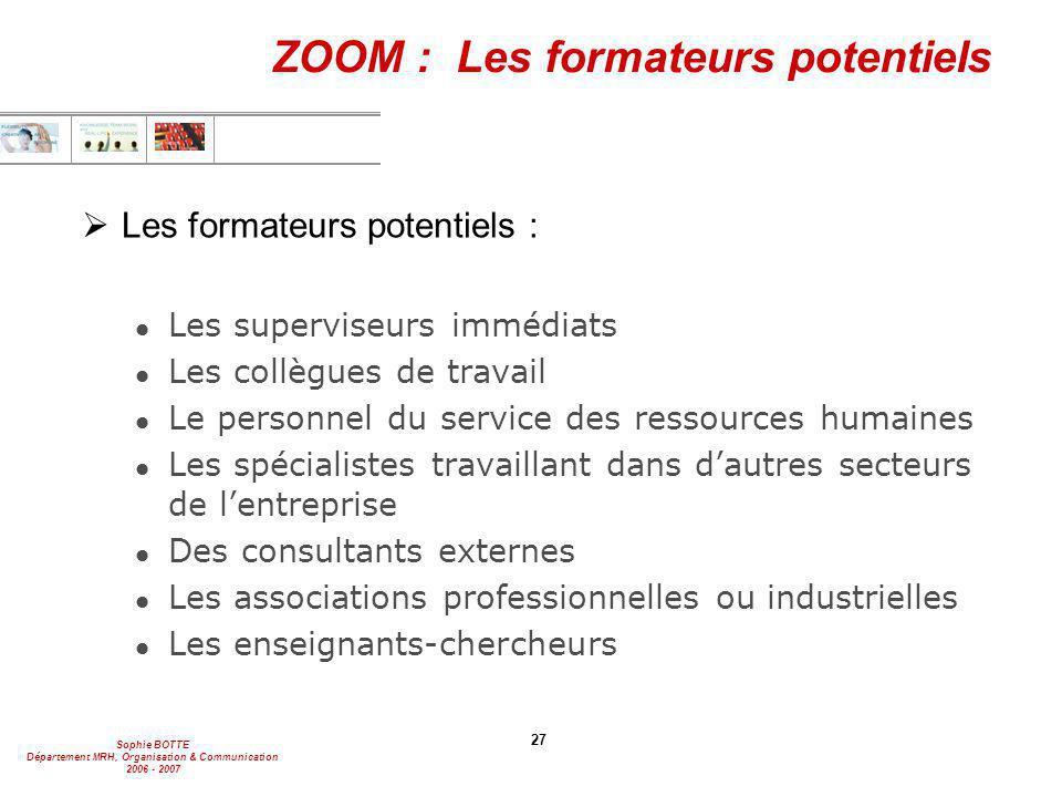 ZOOM : Les formateurs potentiels