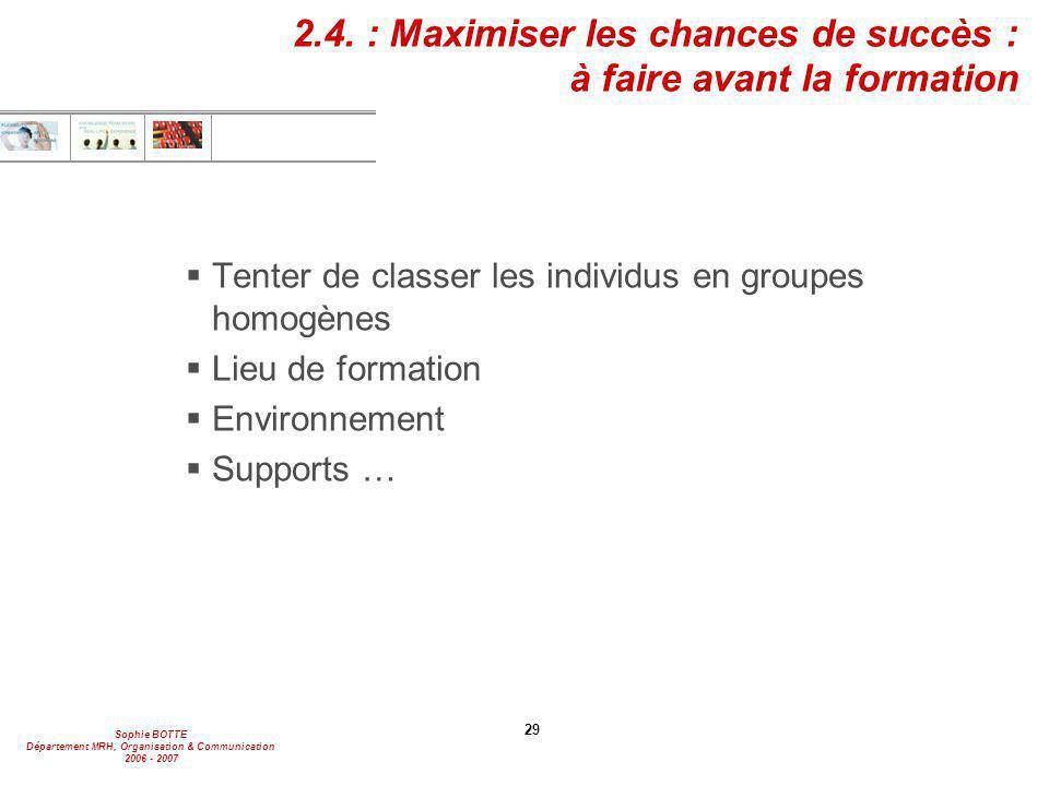 2.4. : Maximiser les chances de succès : à faire avant la formation
