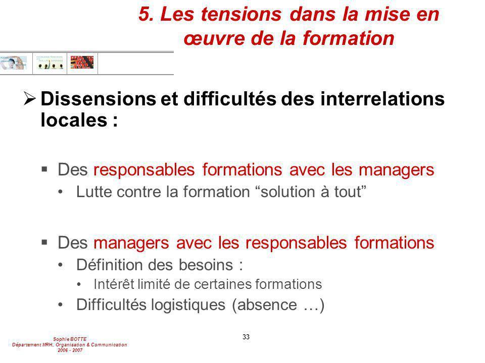 5. Les tensions dans la mise en œuvre de la formation