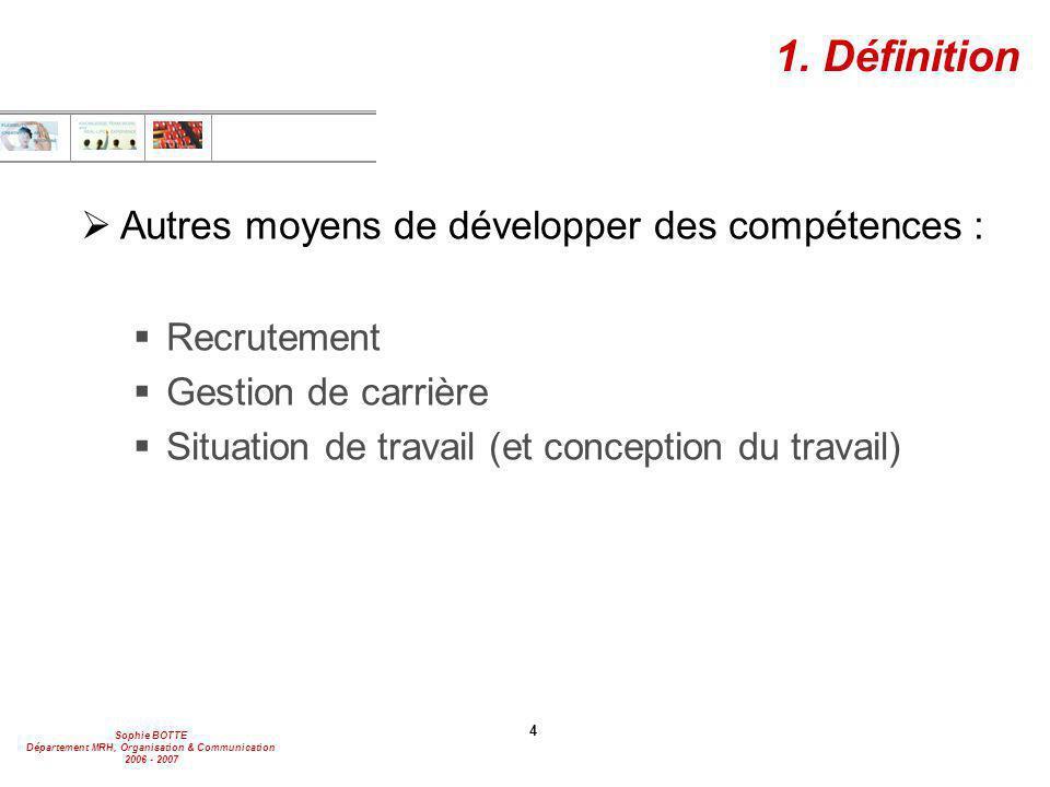 1. Définition Autres moyens de développer des compétences :