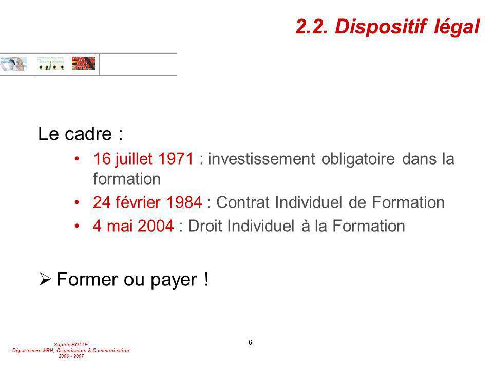 2.2. Dispositif légal Le cadre : Former ou payer !