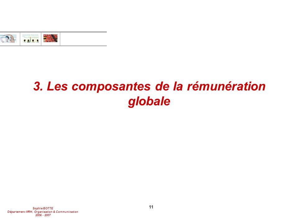 3. Les composantes de la rémunération globale