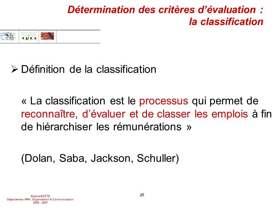 Détermination des critères d'évaluation : la classification