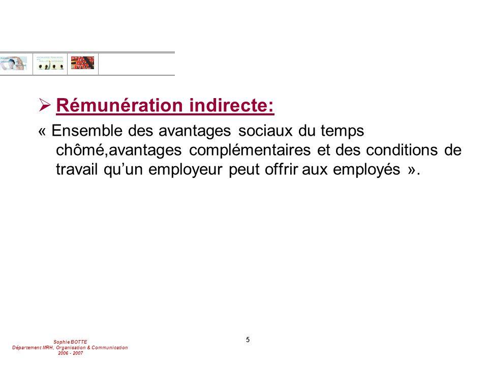 Rémunération indirecte: