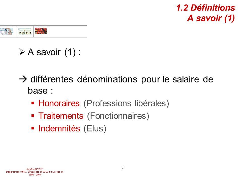 1.2 Définitions A savoir (1)
