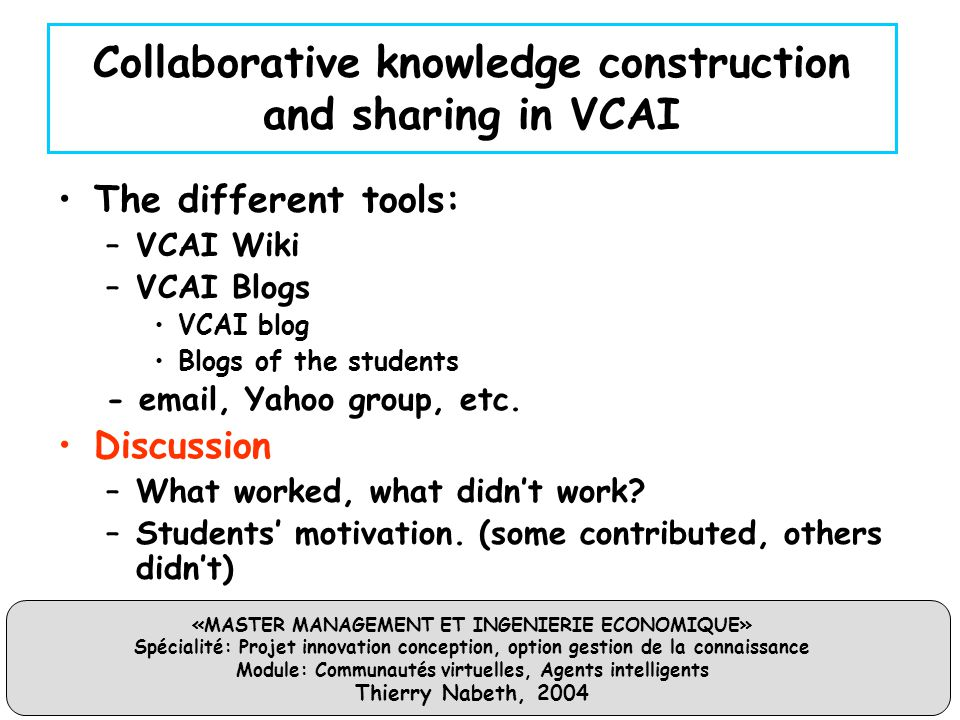 Collaborative knowledge construction and sharing in VCAI