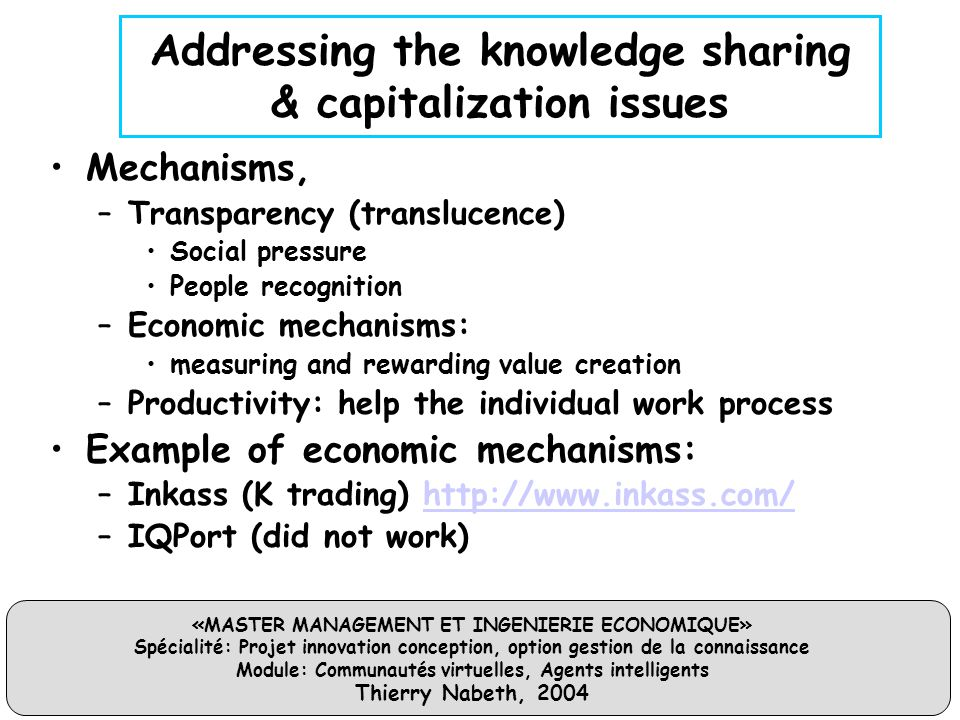 Addressing the knowledge sharing & capitalization issues