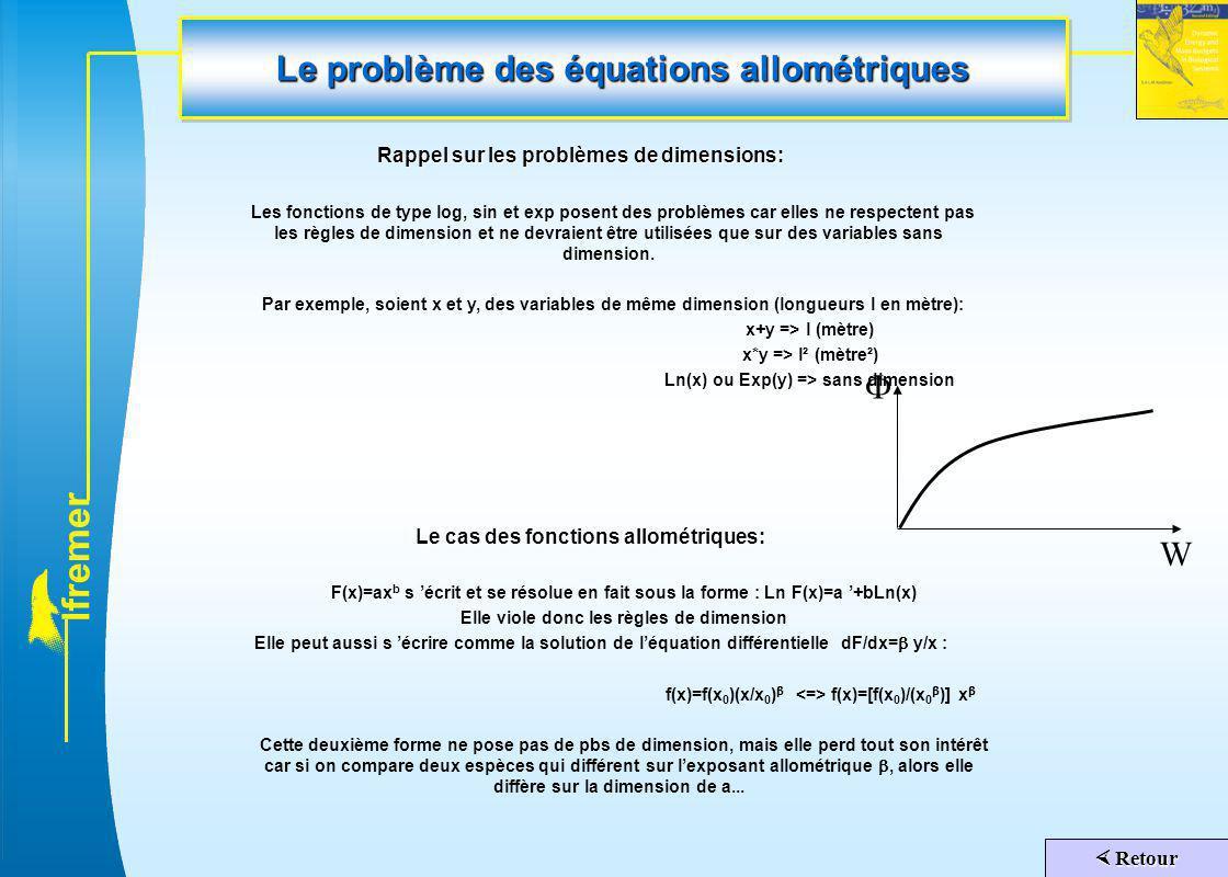Le problème des équations allométriques