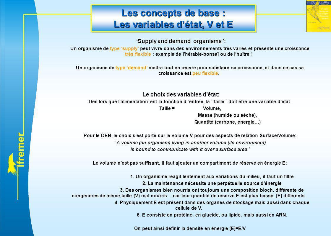Les concepts de base : Les variables d'état, V et E