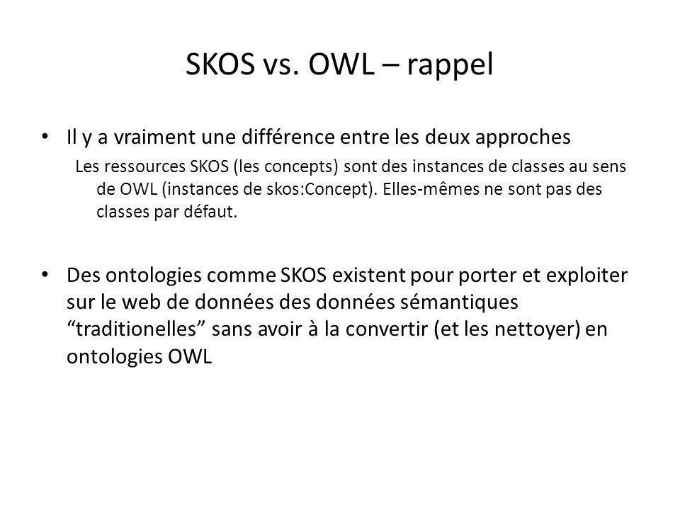 SKOS vs. OWL – rappel Il y a vraiment une différence entre les deux approches.