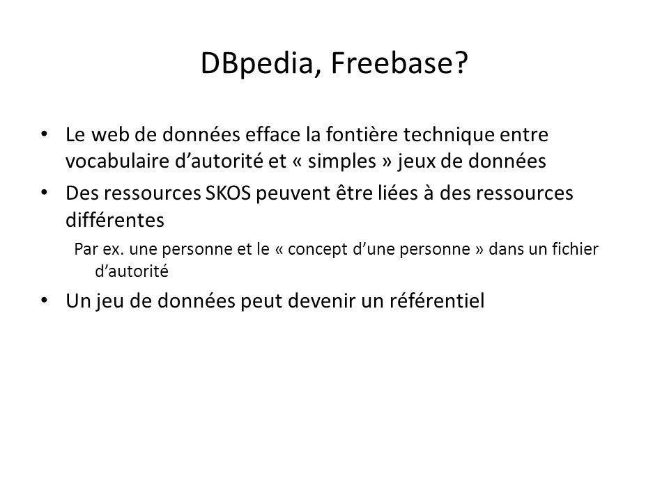 DBpedia, Freebase Le web de données efface la fontière technique entre vocabulaire d'autorité et « simples » jeux de données.