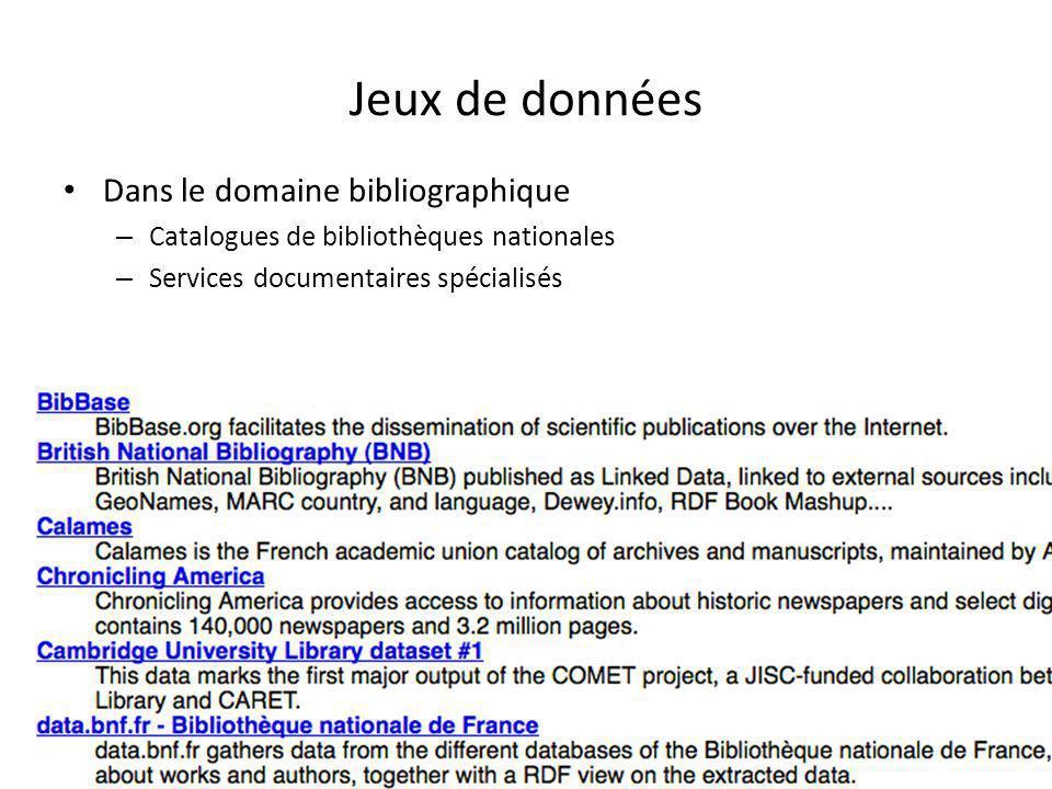 Jeux de données Dans le domaine bibliographique