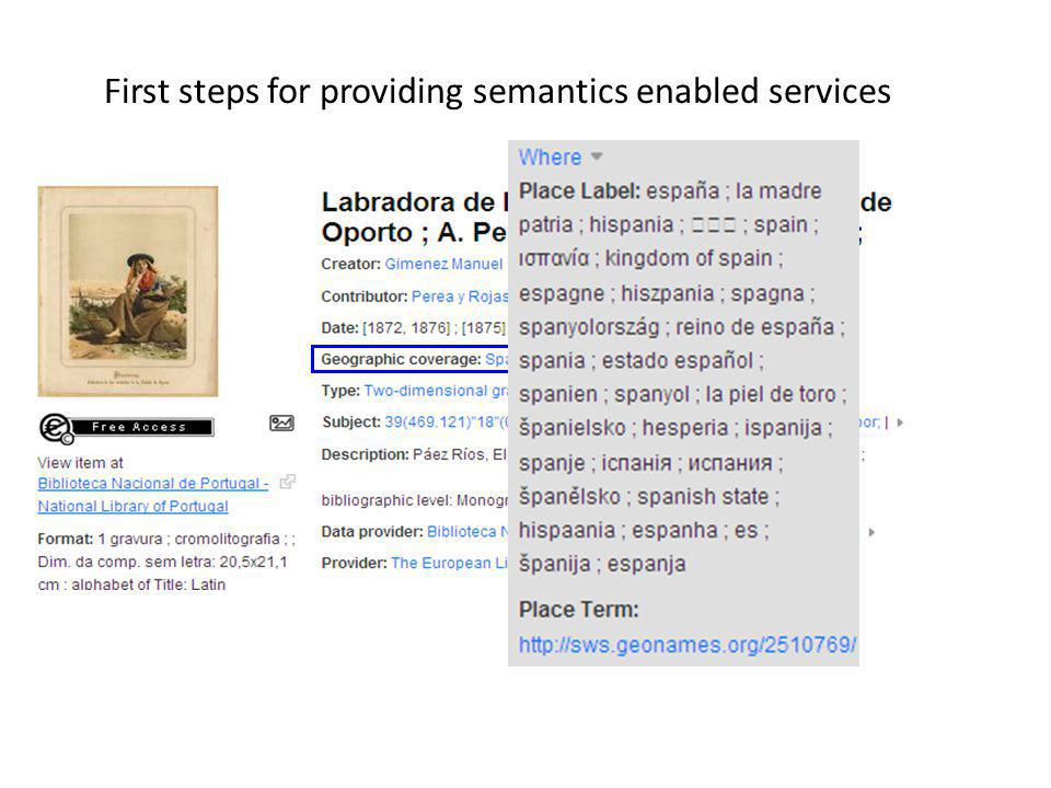First steps for providing semantics enabled services