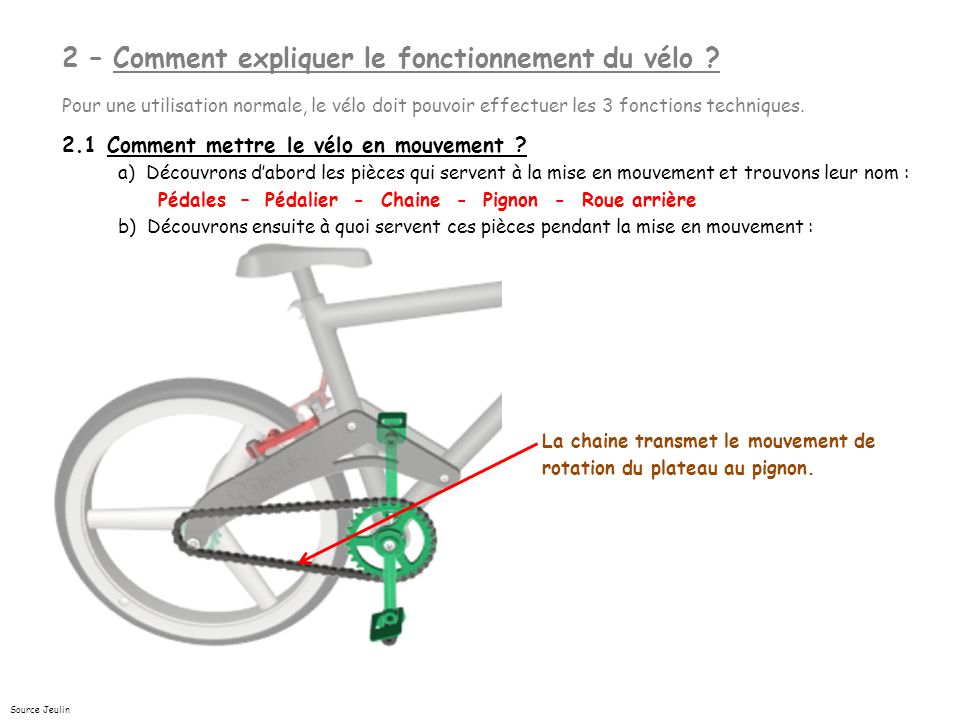 2 – Comment expliquer le fonctionnement du vélo
