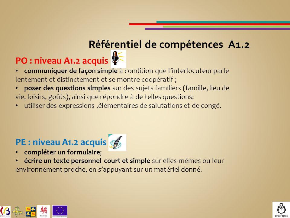 Référentiel de compétences A1.2