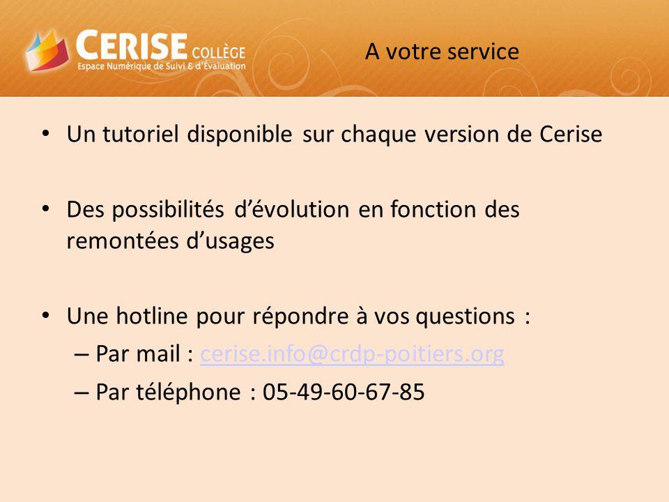 A votre service Un tutoriel disponible sur chaque version de Cerise. Des possibilités d'évolution en fonction des remontées d'usages.