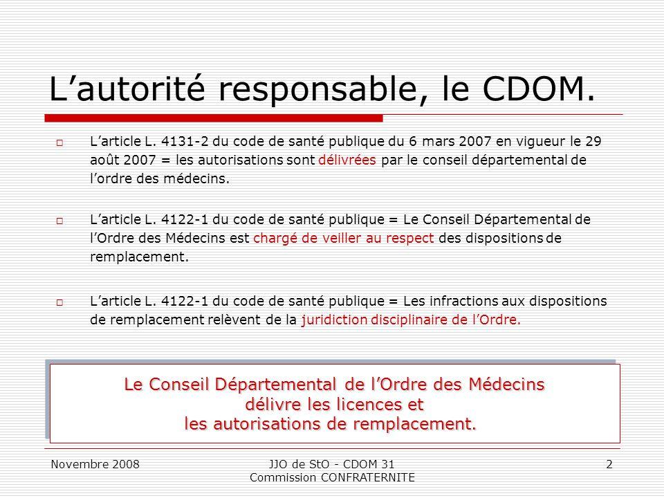 L'autorité responsable, le CDOM.