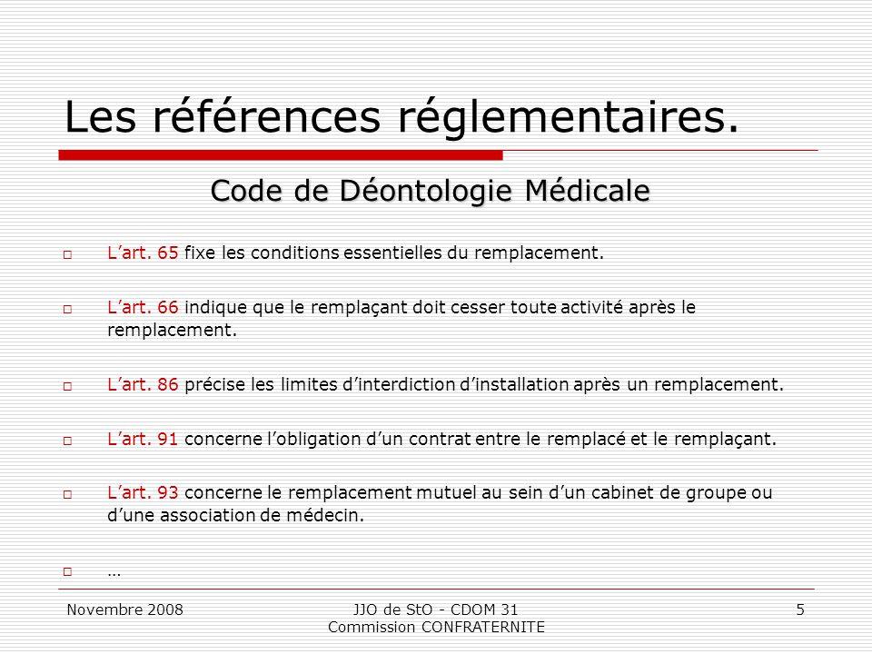Les références réglementaires.