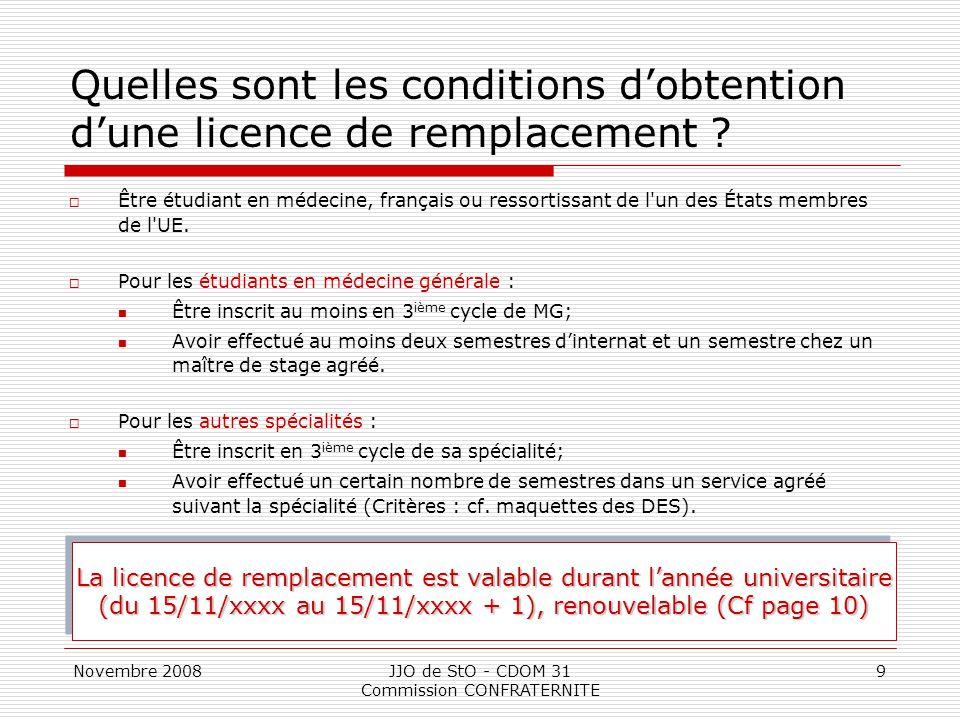 Quelles sont les conditions d'obtention d'une licence de remplacement