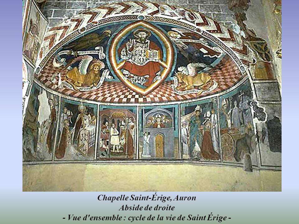 Chapelle Saint-Érige, Auron Abside de droite - Vue d ensemble : cycle de la vie de Saint Érige -