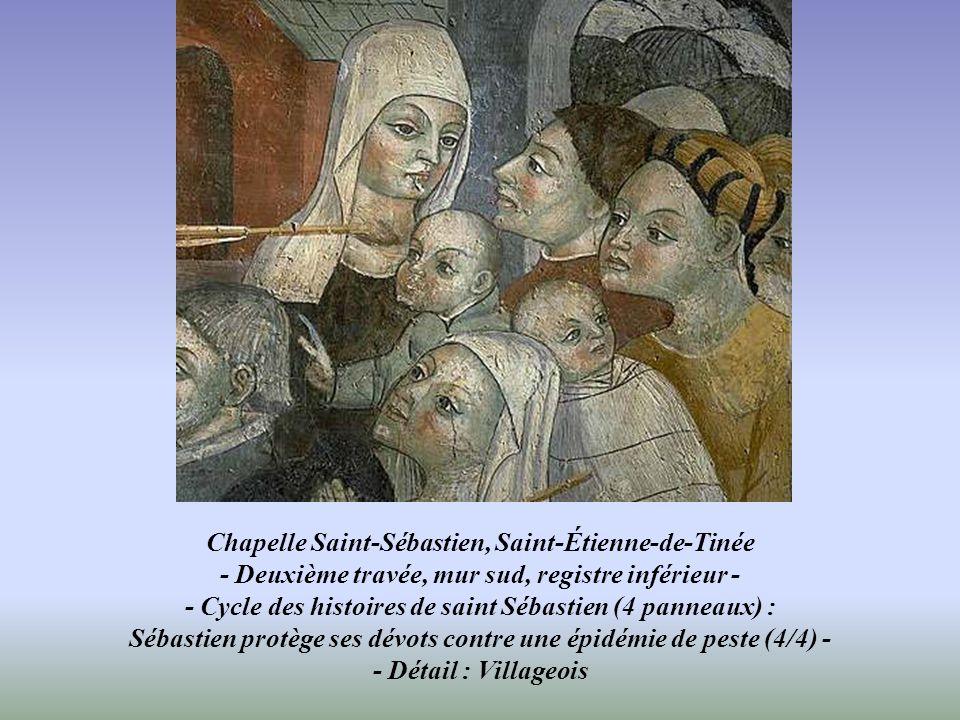 Chapelle Saint-Sébastien, Saint-Étienne-de-Tinée - Deuxième travée, mur sud, registre inférieur - - Cycle des histoires de saint Sébastien (4 panneaux) : Sébastien protège ses dévots contre une épidémie de peste (4/4) - - Détail : Villageois