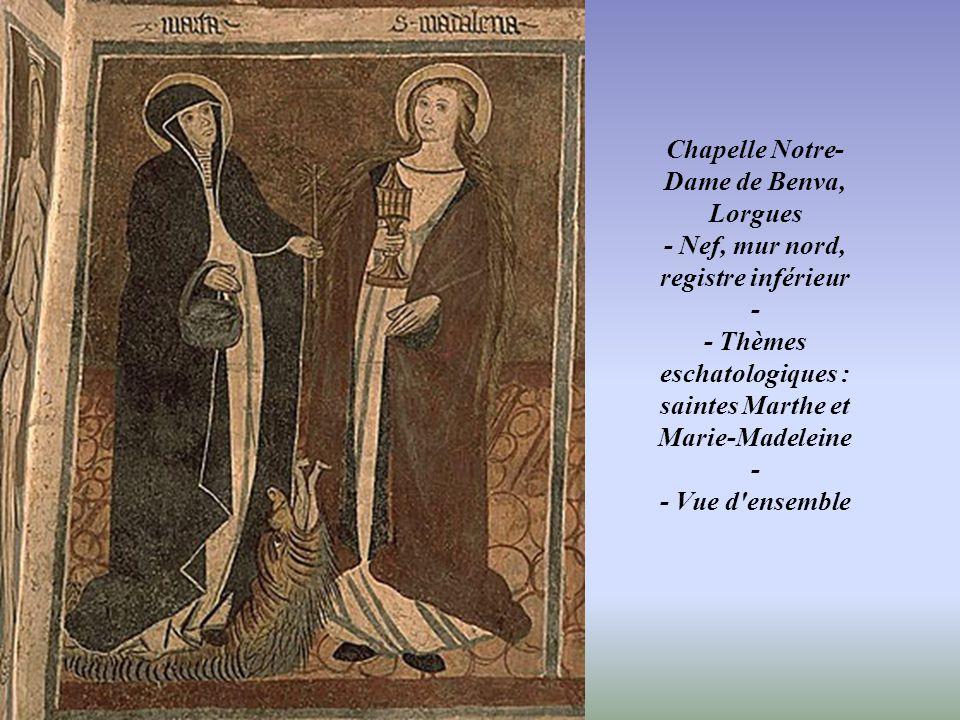Chapelle Notre-Dame de Benva, Lorgues - Nef, mur nord, registre inférieur - - Thèmes eschatologiques : saintes Marthe et Marie-Madeleine - - Vue d ensemble