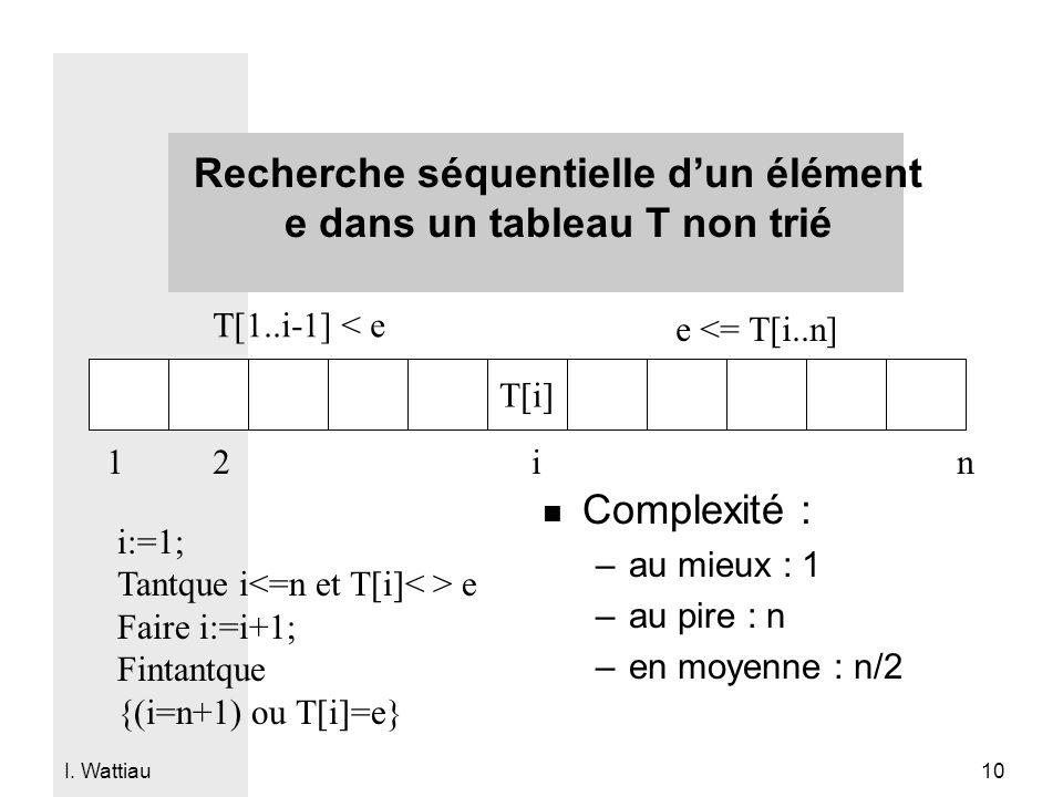 Recherche séquentielle d'un élément e dans un tableau T non trié
