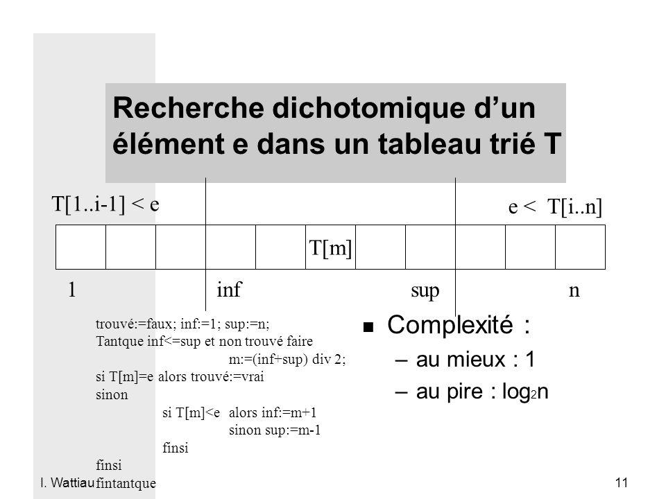 Recherche dichotomique d'un élément e dans un tableau trié T