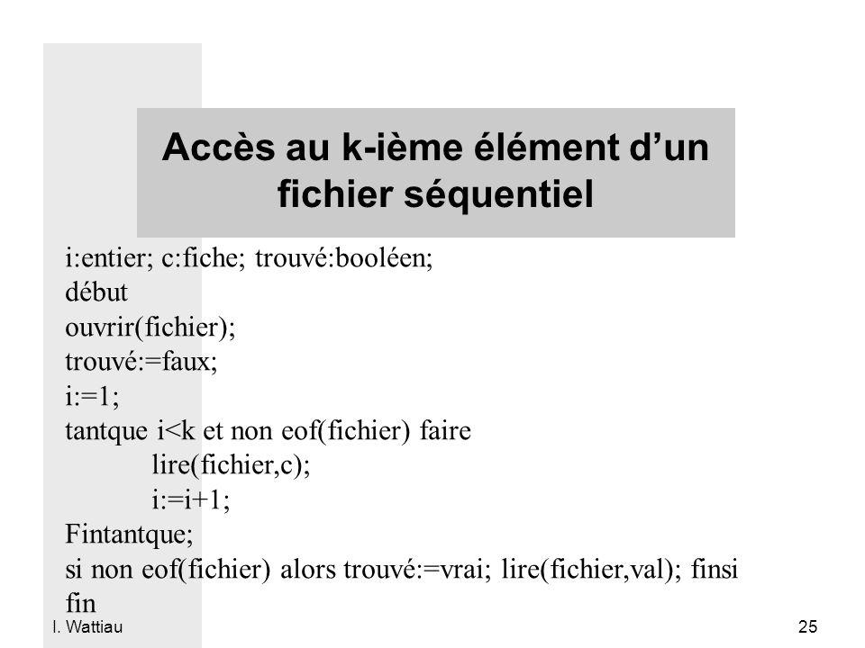 Accès au k-ième élément d'un fichier séquentiel