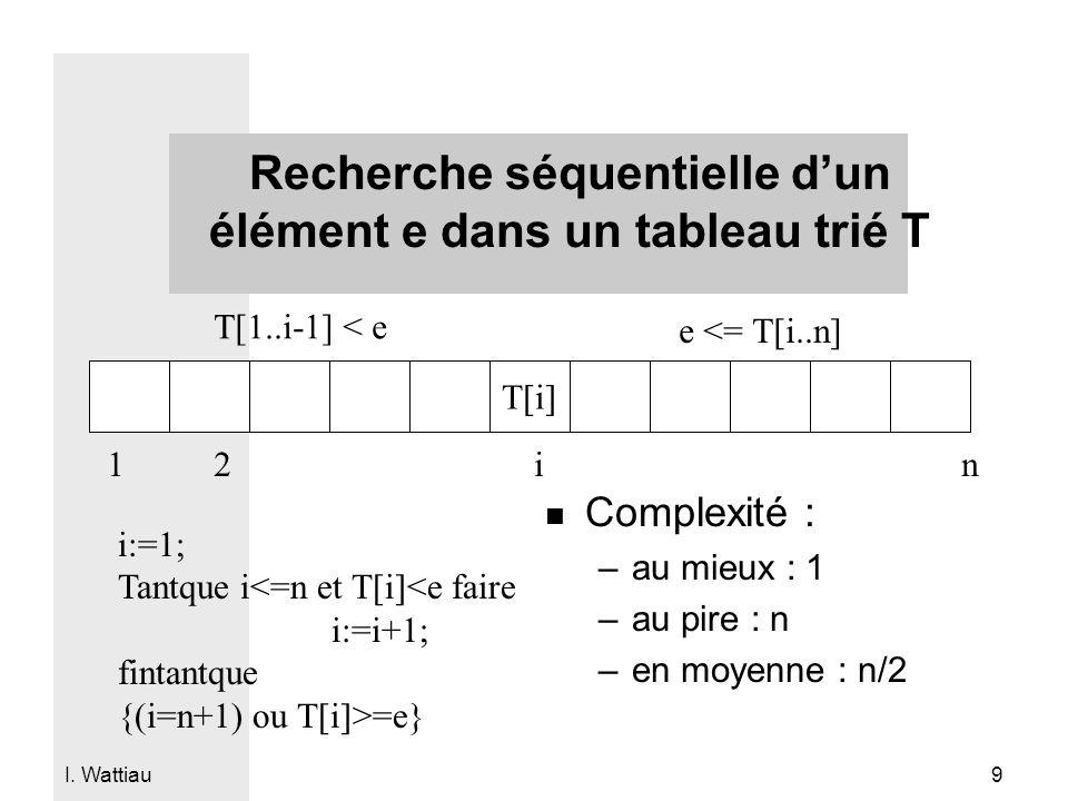 Recherche séquentielle d'un élément e dans un tableau trié T