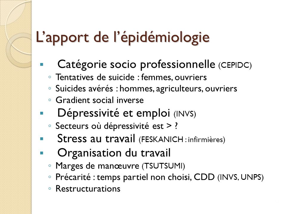 L'apport de l'épidémiologie