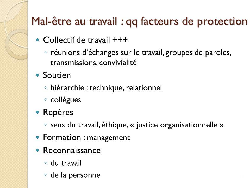 Mal-être au travail : qq facteurs de protection