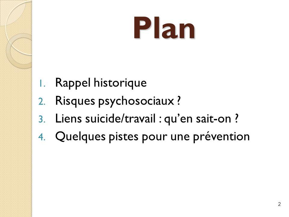 Plan Rappel historique Risques psychosociaux