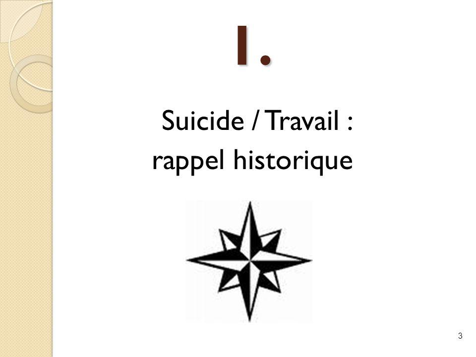 1. Suicide / Travail : rappel historique
