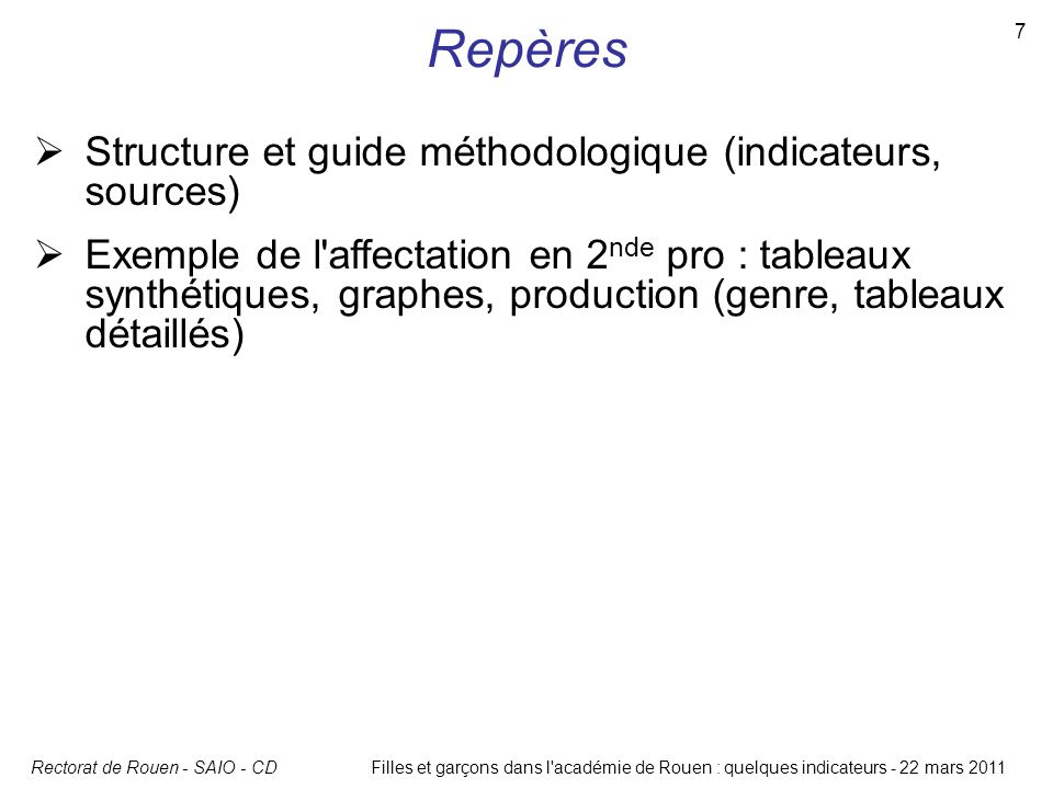 Repères Structure et guide méthodologique (indicateurs, sources)