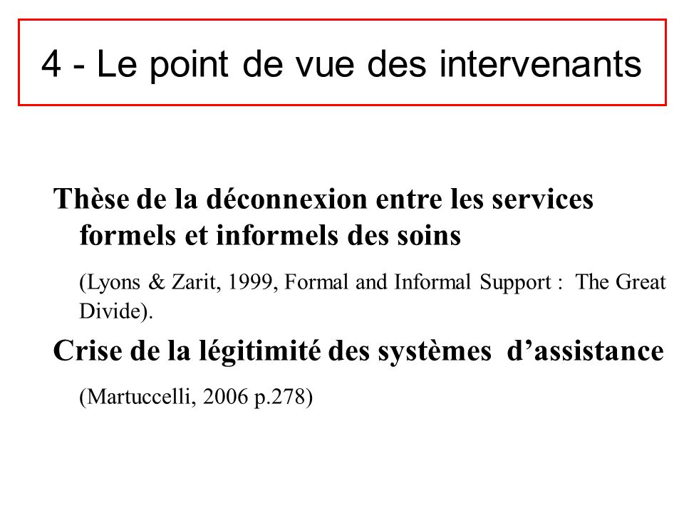 4 - Le point de vue des intervenants