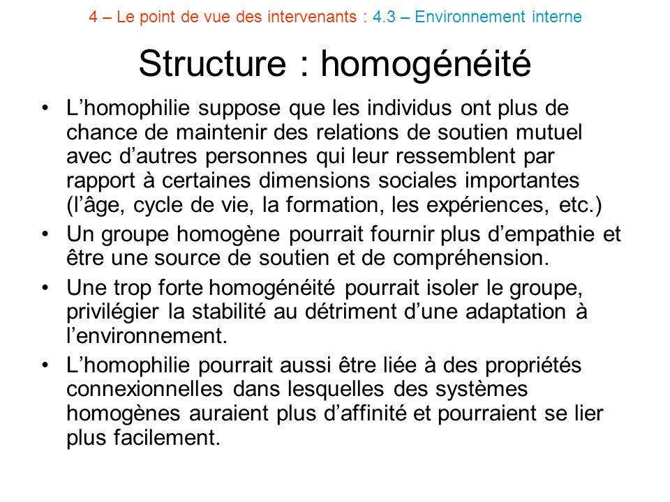 Structure : homogénéité