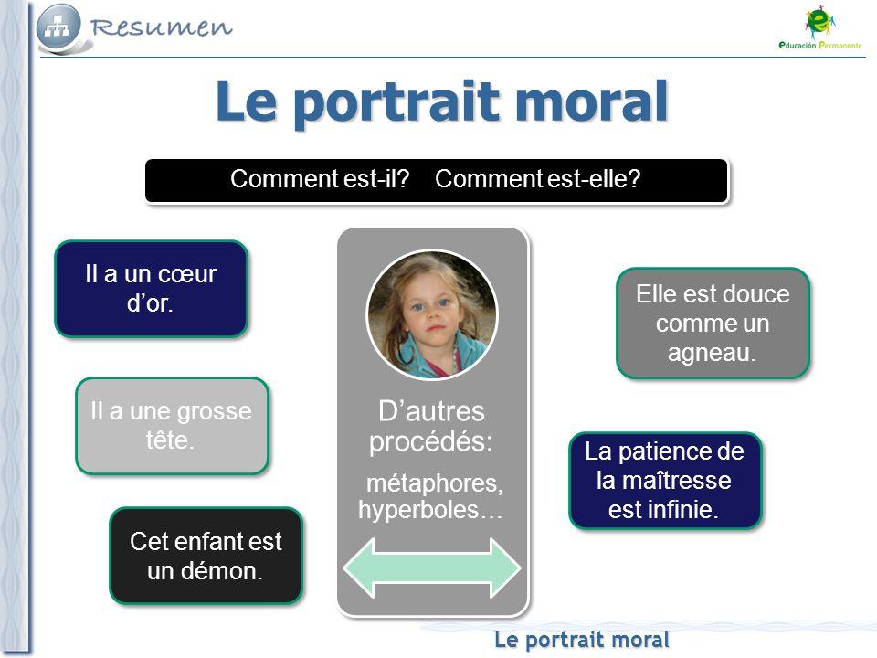 Le portrait moral D'autres procédés: métaphores, hyperboles…