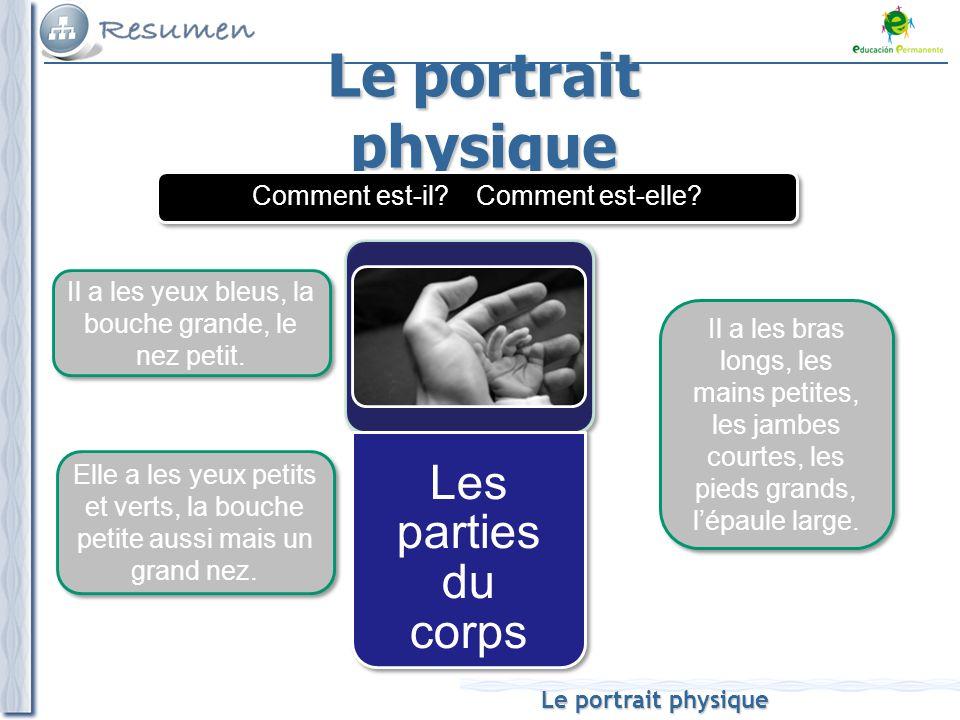 Le portrait physique Les parties du corps