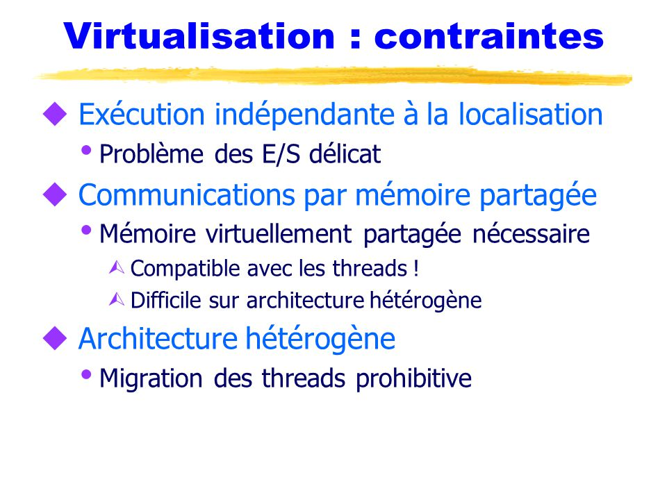 Virtualisation : contraintes
