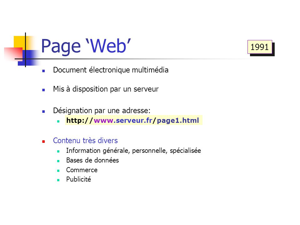 Page 'Web' 1991 Document électronique multimédia