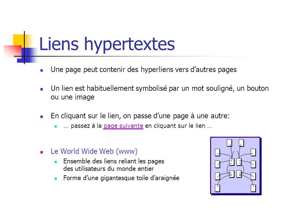 Liens hypertextes Une page peut contenir des hyperliens vers d'autres pages.