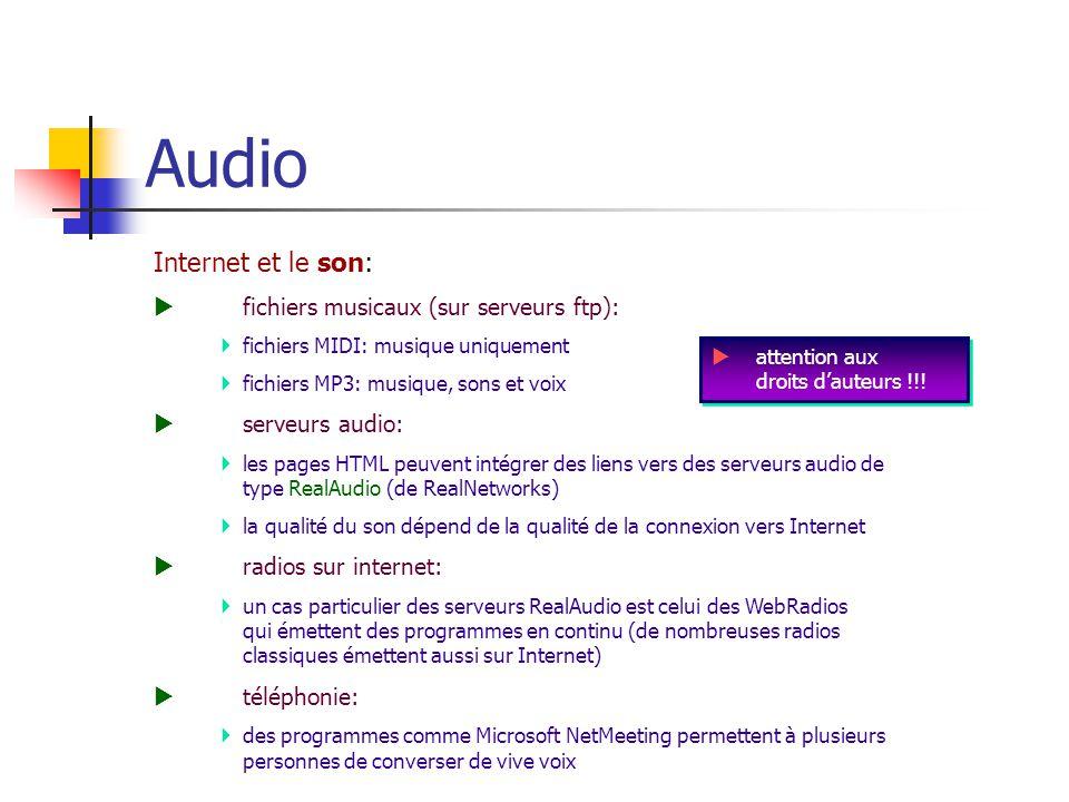Audio Internet et le son: fichiers musicaux (sur serveurs ftp):
