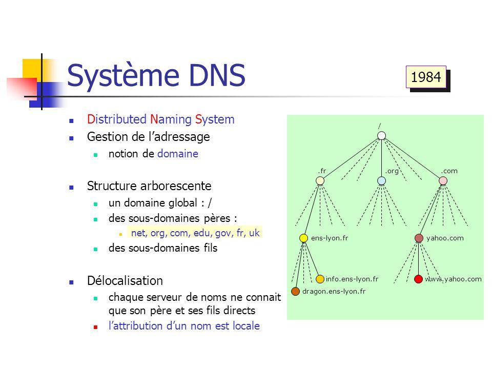 Système DNS 1984 Distributed Naming System Gestion de l'adressage
